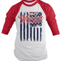 Shirts By Sarah Men's Merica Est. 1776 Distressed Flag 4th July 3/4 Sleeve Raglan Shirt
