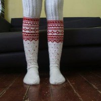 White and Red Long Above the Knee Socks by Legyviel on Etsy