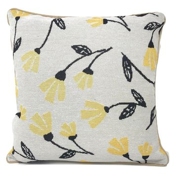 "DaDa Bedding Fresh Sunshine Yellow Fleur Floral Tapestry Throw Pillow Covers 16"" (18112)"