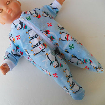 "American Girl Bitty Baby Clothes 15"" Doll Clothes Boy or Girl or Twin Doll Blue Skating Penguin Flannel Zip Up Feetie Pajamas Pjs Sleeper"