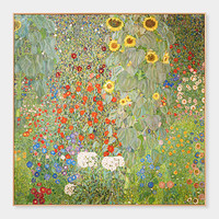 Klimt: Farm Garden With Sunflowers Framed Print
