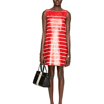 Kate Spade Sleeveless Sequin Stripe Dress Fairytale Red/Pastry Pink