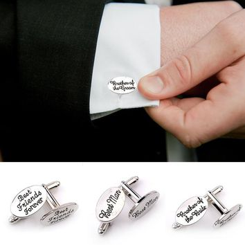 Brand Silver Plated Mens Wedding Cufflinks Sets Shirts Cuff Links Personalised Groom Best Man