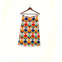 Bright Colors Geometric A-line Skirt, Feminine & Fun Vintage Skirt With Square Pattern