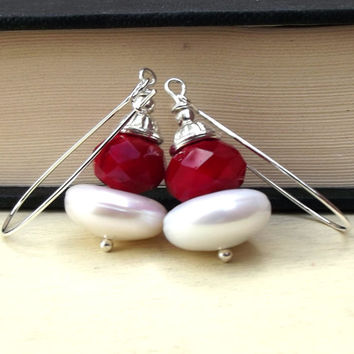 Christmas Bridal Cocktail Earrings: Crimson Red and White Ivory Dangle Earrings, Freshwater Pearl Stacked Earrings, Holiday Wedding Jewelry