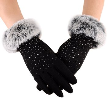 Faux Fur Elegant  Gloves Hand