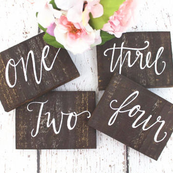 Rustic Calligraphy Wooden Table Numbers - Rustic Weddings
