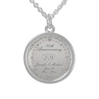 25th Silver Anniversary Monogram Round Pendant Necklace
