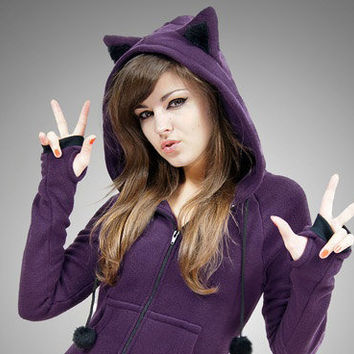 L size Hoodie Cat Ears Kitty Violet Animal Fleece Long Kawaii