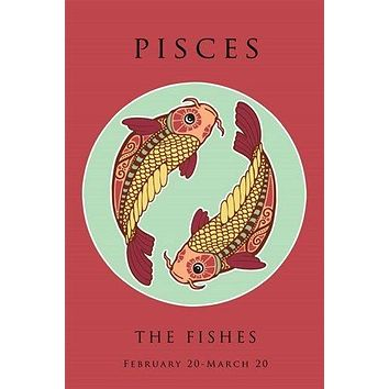 pisces astrology art poster 24X36 SYMBOLIC THE FISHES COLORFUL original new