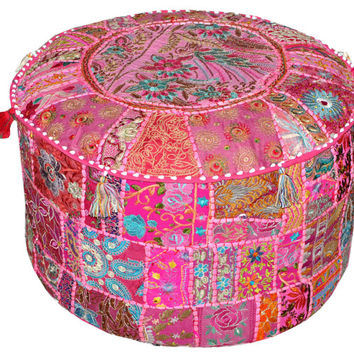 Pink Bohemian Vintage Patchwork Indian Pouf Large Round Ottoman Seat Embroidered Pouffe round cotton stool chair bench foot stool pouffe