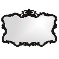 Howard Elliott Lacquered Talida Mirror in Glossy Black