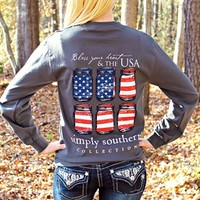 Preppy Long Sleeve USA Tee