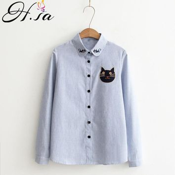 Women Long Sleeve Blouses Turn-Down Collar Cartoon Striped Shirts Cat Embroidery Casual Shirt Tops