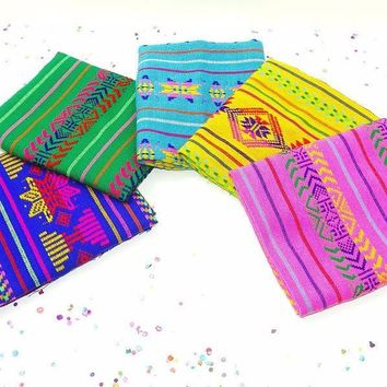 Mexican party decorations, Mexican Woven Fabric, Aztec fabric by the half yard, Colorful tribal fabric half yard