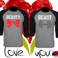 Price For 2 Tees - Beast and Beauty Perfect Matching Love Set Raglan T Shirt Baseball Tee 3/4 Sleeve