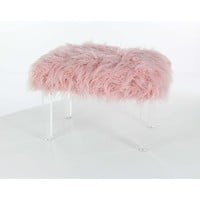 Trendy Pink Fur Foot Stool