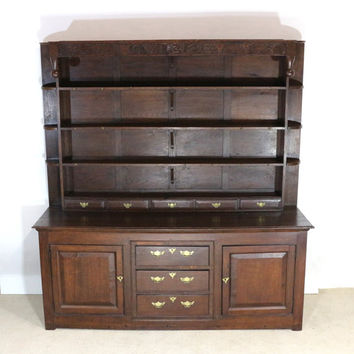 1690s Hutch, Colonial China Cabinet, 17th Century Furniture, Antique Storage