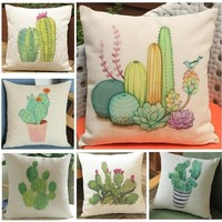 Tropical Cactus Pillows Pot Plant Succulent Print Car Sofa Linen Decorative Cushion For Living Room Home Decor Pillowcases 45x45