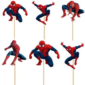 24pcs/lot Super hero Spiderman cupcake topper picks boy children party decoration Kid's birthday party decoration supplies