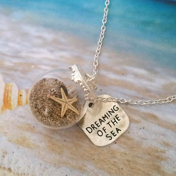 Miniature Dreaming of the Sea Necklace with Silver Plated Chain, Beach Globe, Sand, Seashell, Starfish, Beach Vial Jewelry
