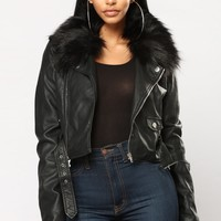 Kandace II Faux Leather Jacket - Black/Black