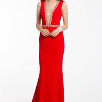 Crepe Dress With Beaded Plunge Neckline