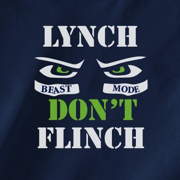 Navy Custom 2 Color Seattle Seahawks Marshawn Lynch don't flynch Fan Tee Tshirt T-Shirt