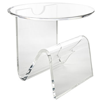 Round-Top Magazine Side Table, Clear, Acrylic / Lucite, Standard Side Tables