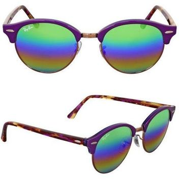 NEW Rayban Sunglasses RB4246 12207O 51mm Violet Green Rainbow Round Clubmaster