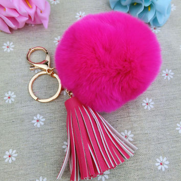 Christmas Gifts Women Ornaments Fur Pompon and Tassel Key chain Pompom keychain Rabbit Hair Car and Bag Key Holder