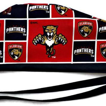 Men's Unlined Surgical Scrub Hat Cap in Florida Panthers