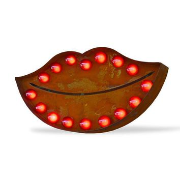 Kissing Lips Vintage Marquee Lights Sign (Rustic)