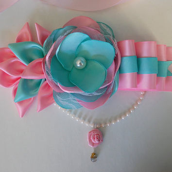 Mommy to be sash / Maternity Sash / Belly Sash  / Baby shower sash / pink mint green sash  / photo prop sash / baby girl baby shower