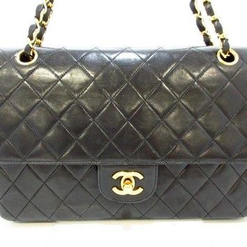 Auth CHANEL Matelasse Black Lambskin Shoulder Bag Double Flap Gold Hardware