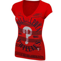 Majestic Philadelphia Phillies Ladies Emotional Reaction T-Shirt - Red