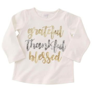 "Mud Pie-Girls Thanksgiving ""grateful thankful blessed"" Tee"
