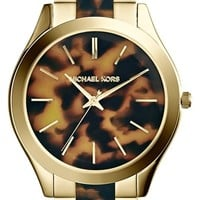 Women's Michael Kors 'Slim Runway' Round Bracelet Watch, 42mm - Tortoise/ Gold