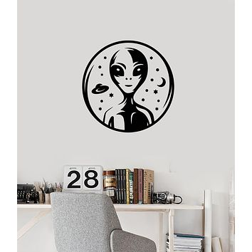 Vinyl Wall Decal Alien Area 51 Stars Planets Universe Galaxy Room Interior Stickers Mural (ig5931)