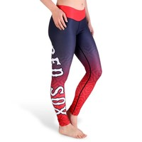 MLB Boston Red Sox Gradient Big Logo Print Leggings, Red, Small