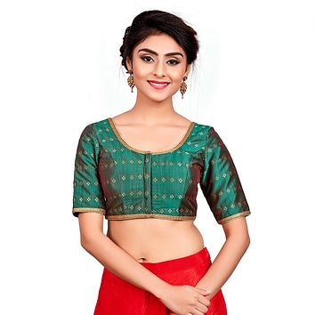 Designer Indian Bottle Green Dupion Silk Padded Front Open Hooks Elbow Sleeves Saree Blouse (Co-722)