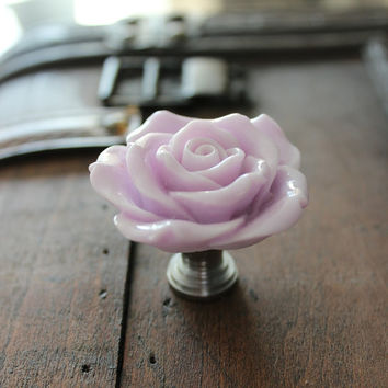 Rose Drawer Knobs - Cabinet Pulls in Lily Lavender (RFK14)