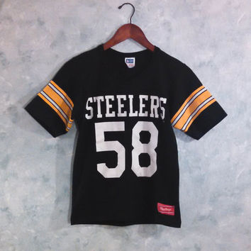 Vintage 80s Steelers Jersey, Rawlings T Shirt, Number 58 Jack Lambert, Pittsburgh Steelers, NFL, Officially Licensed
