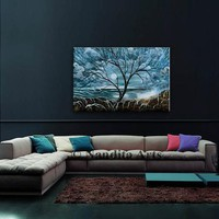 Blue Landscape Abstract Painting, Sunsets Shore Modern Painting, Wall Decor, Luxury Style Tree Painting Home decor, Contemporary Art Gift
