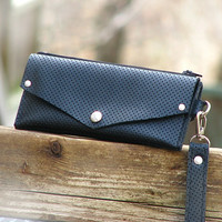 Women's Grab-N-Go Leather Wallet Wristlet with Zippered Coin Purse - Perforated Black