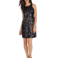 White House | Black Market Sleeveless Sequin Black Party Dress
