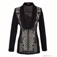 Black Grid Silver Bead Embroider Crystal Long Line Blazer in Balmain(suburb NSW)