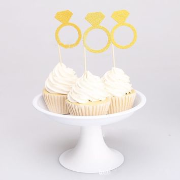 10 Piece Paper Gold Diamond Ring Cupcake Toppers Wrapper Wedding Party Table Decoration Engagement Cake Supplies