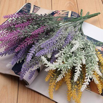 Heads Artificial Lavender Flower Plastic Bouquet Floral Beauty Wedding Decoration