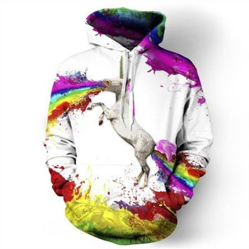 3D Hoodies Unicorn Print Sweatshirt for Men and Women